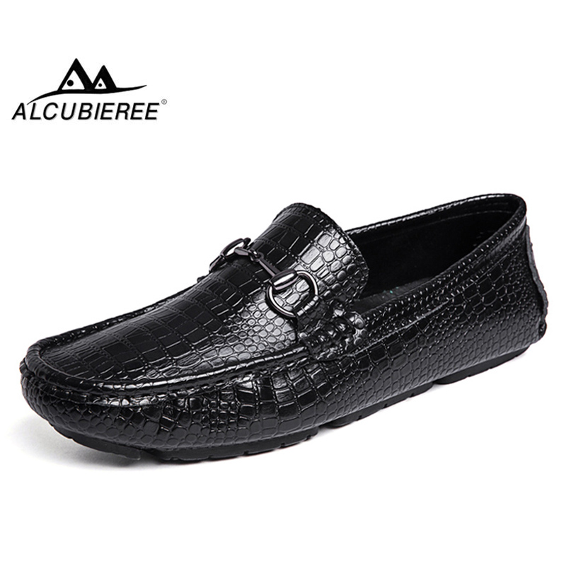 ALCUBIEREE Brand Mens Cow   Suede   Loafers with Stylish Buckle Genuine   Leather   Driving Moccasins Casual Slip on Boat Shoes for Men