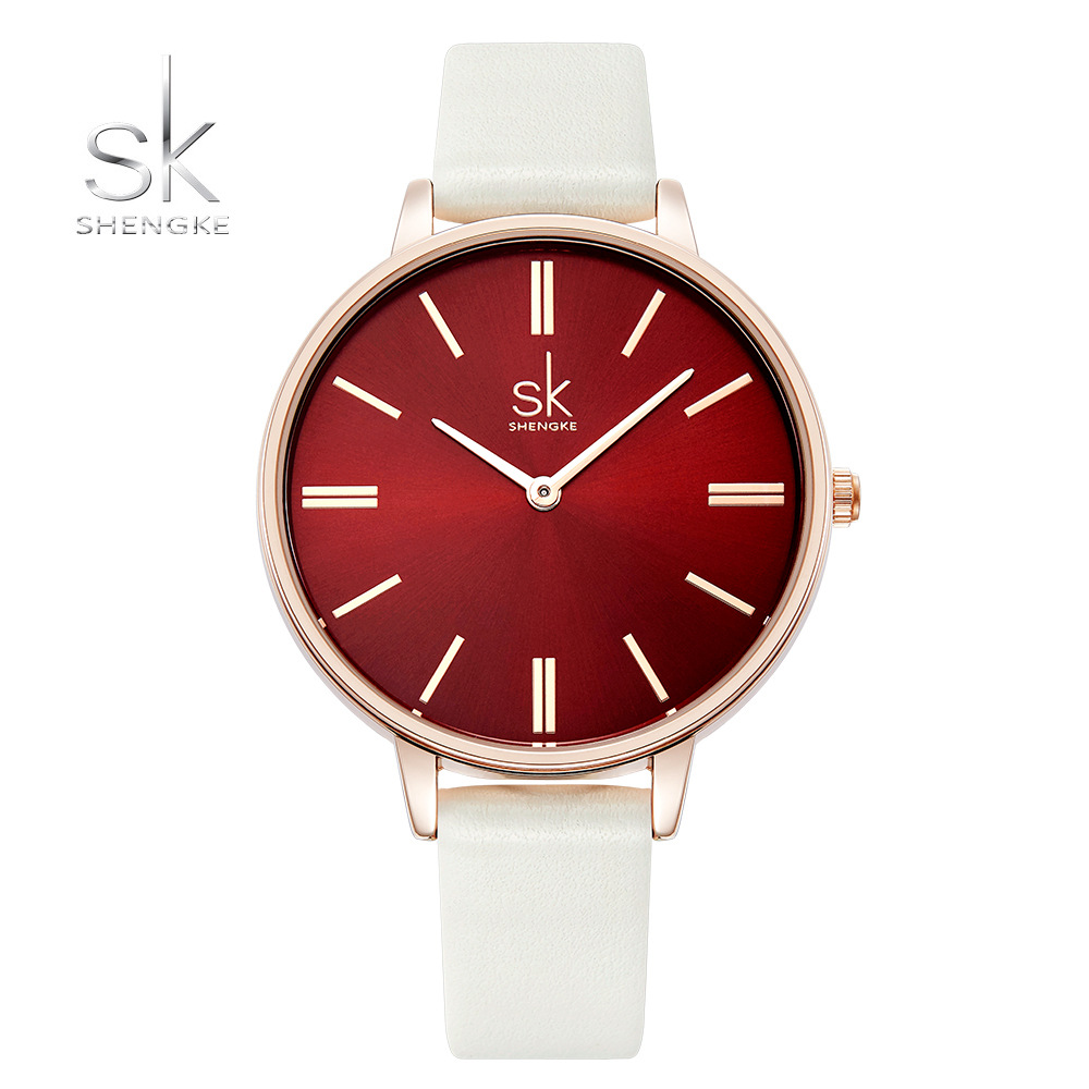 2018 Shengke Women Red Quartz Watch Leather 14mm Strap Watch Women Lady casual Relogio Feminino Saat Dropshiping Box Gift Free top luxury crystal brief design lady elegance slim strap leather wristwatch waterproof women quartz watch relogio feminino gift