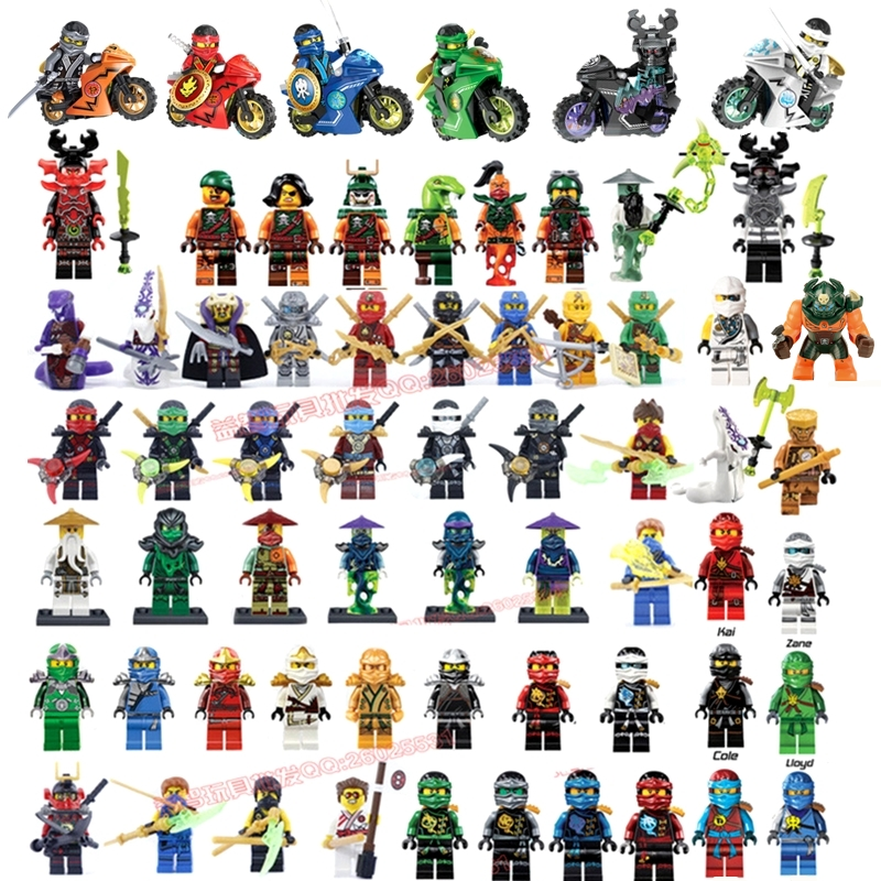Compatible LegoINGlys NinjagoINGlys Mini figures Cole Kai Jay Lloyd Nya Zane Yang Dogshank Building Blocks Toys Ninja Weapon