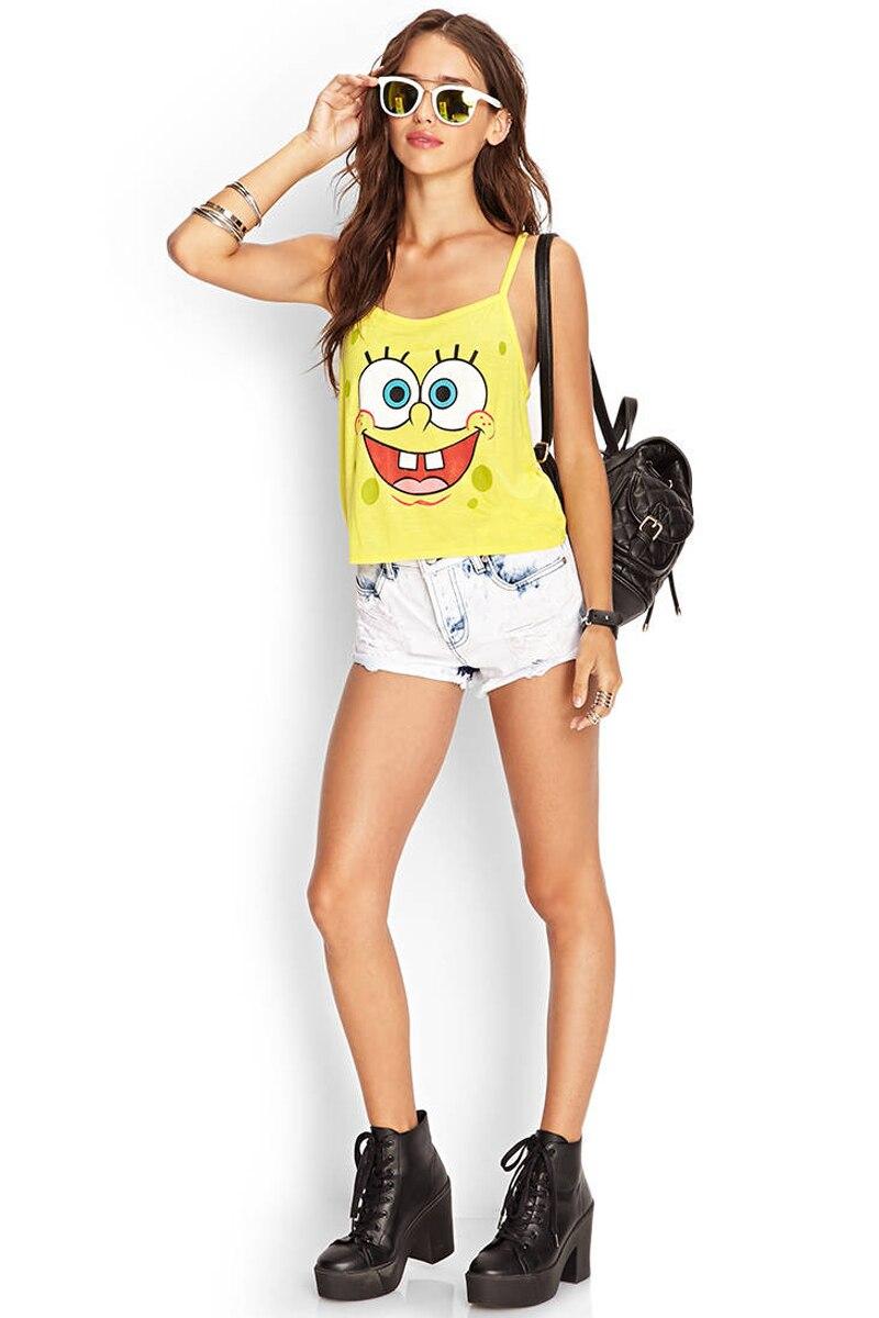 Women Fashion Yellow Color Cotton Tank Top SpongeBob Pattern Printed ...