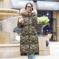 2018 Новинка зимы утка вниз куртка Для женщин в европейском и американском стиле Для женщин длинная куртка с секциями большой кос волосы воро