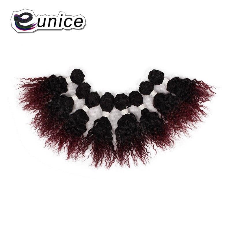 Rizado kanekalon del pelo que teje 8-14 pulgadas extensiones de cabello  ombre paquetes sintéticos 1b 27 30  bug coser en trama doble del pelo de  Eunice 25429ab2e2fc