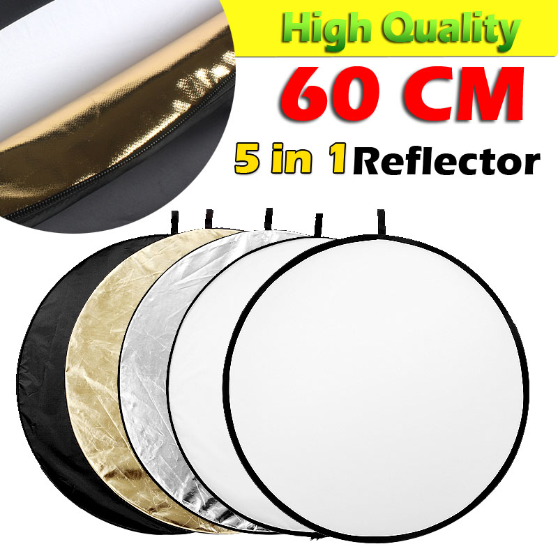 ASHANKS Reflector 24 60cm 5 in 1 Collapsible Light Round Flash Photo Studio Color for Golden Silver White Black Translucent