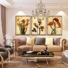 Frameless Canvas Art Oil Painting Colorful Flower Home Decoration Abstract Print Modular Picture for Living Room Wall 3 Panel