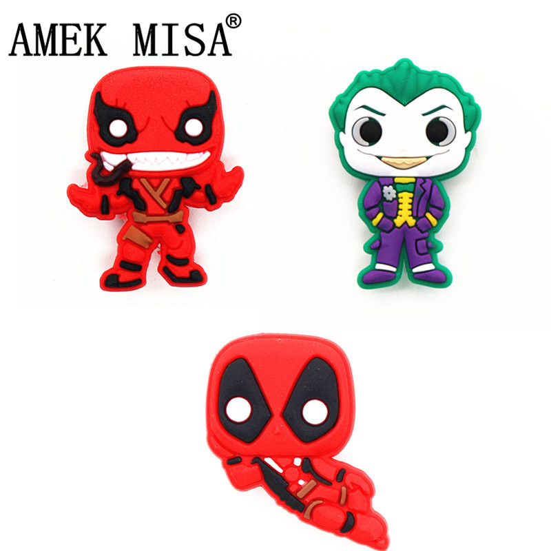 Single Sale 1Pcs Joker Shoe Charms Deadpool Shoe Accessories Venom Shoe Decoration For Croc Jibz Kid's Party X-mas Gift DONG-3DP