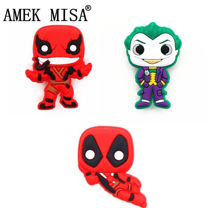 Single Sale 1Pcs Joker Shoe Charms Deadpool Shoe Accessories Venom Shoe Decoration For Croc Jibz Kid's Party X-mas Gift DONG-3DP