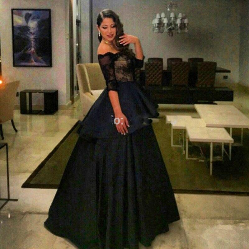 e6502a86dccc Elegant Prom Dresses Sweetheart Neckline Half Sleeve Back Puffy Evening  Dresses Satin robe de soiree Arabic Style Black Taffeta