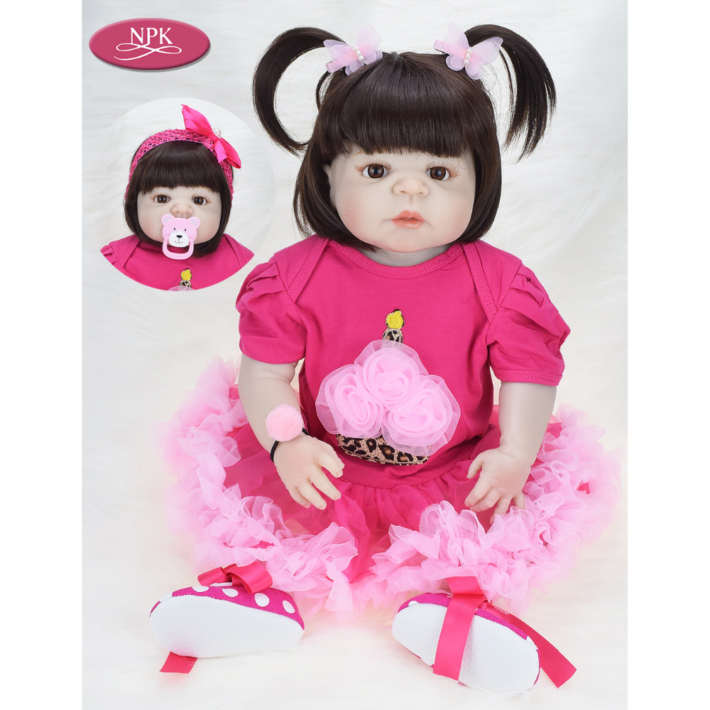 NPK 57CM Full Body Soft Silicone Girls Reborn Baby Doll Bathe Toys Lifelike Princess Girl Dolls Bebe Real Reborn Boneca Menina
