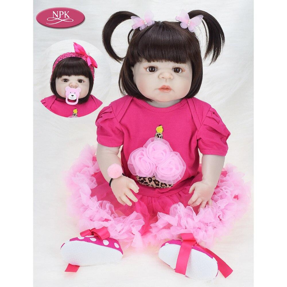 NPK 57CM de Corpo Inteiro Banhar Brinquedos Lifelike Boneca Reborn Bebê Silicone Macio Meninas Princesa Menina Bonecas Bebe Reborn Real boneca De Menina