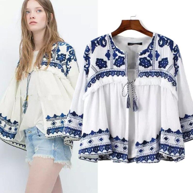 Ropa mujer 2016 azul de primavera blanca chaqueta Kimono