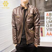 Mens Genuine Lambskin Leather Jacket Slim fit Biker Black Coffee Brown Motorcycle PU Casaca De Cuero Hombre