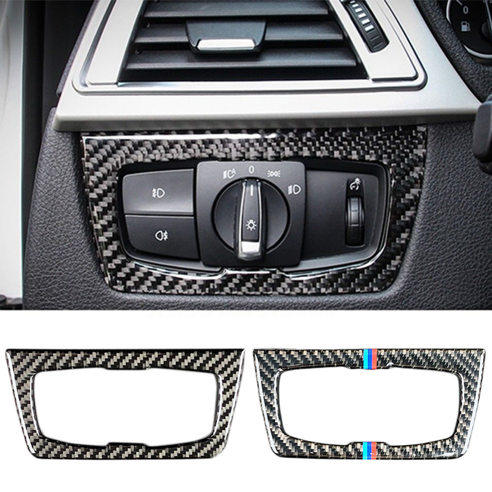 Carbon Fiber Headlight Switch Frame Cover Trim For <font><b>BMW</b></font> <font><b>3</b></font> <font><b>Series</b></font> <font><b>gt</b></font> <font><b>3</b></font> <font><b>Series</b></font> 4 <font><b>Series</b></font> image