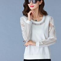 Camisas Femininas Manga Longa 2017 Korean Fashion Hollow Out Lace Women Blouse Shirt Long Sleeve Blouses