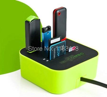 Zimoon магазине 3 порта USB 2.0 хаб концентратор с Micro Multi Card Reader для SD/MMC/m2/MS /mp компьютер Интимные аксессуары