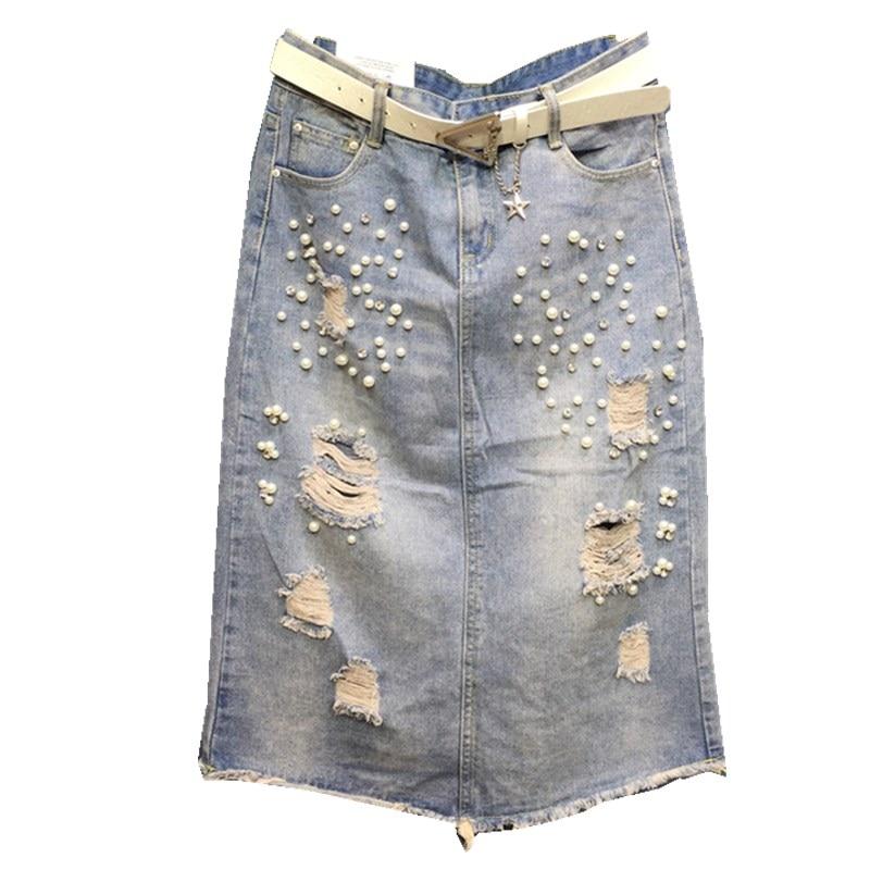 d93b52d71 2019 verano nacional viento retro teatro lavado ropa de mezclilla blanco  bordado faldas rectas sen ...