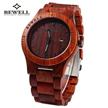 Bewell ZS-W086B Luxury Brand Wood Watch men Analog Quartz Movement Date Waterproof Male Wristwatches relogio masculino