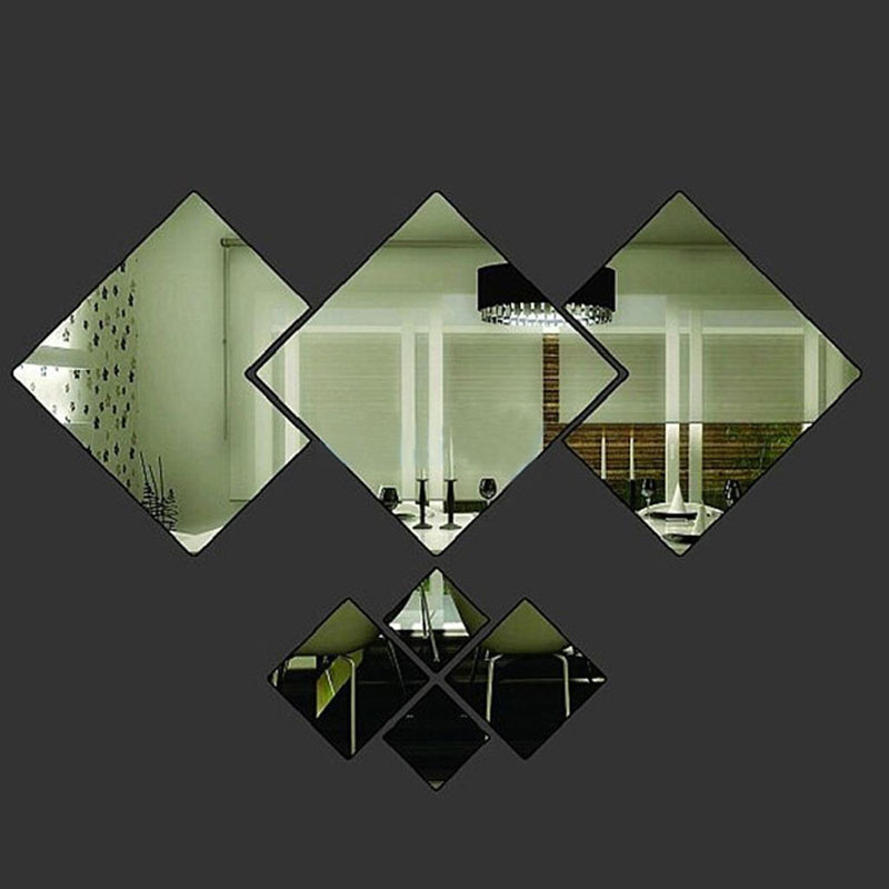 Plastic Mirror Wall Stickers 7 Pieces Removable Rhombus Design Living Room Bed Home Decoration
