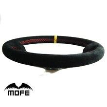 MOFE Оригинальный Логотип Замши 14 дюймов 350 мм 90 мм Deep Dish Руль С Рогом Баттона
