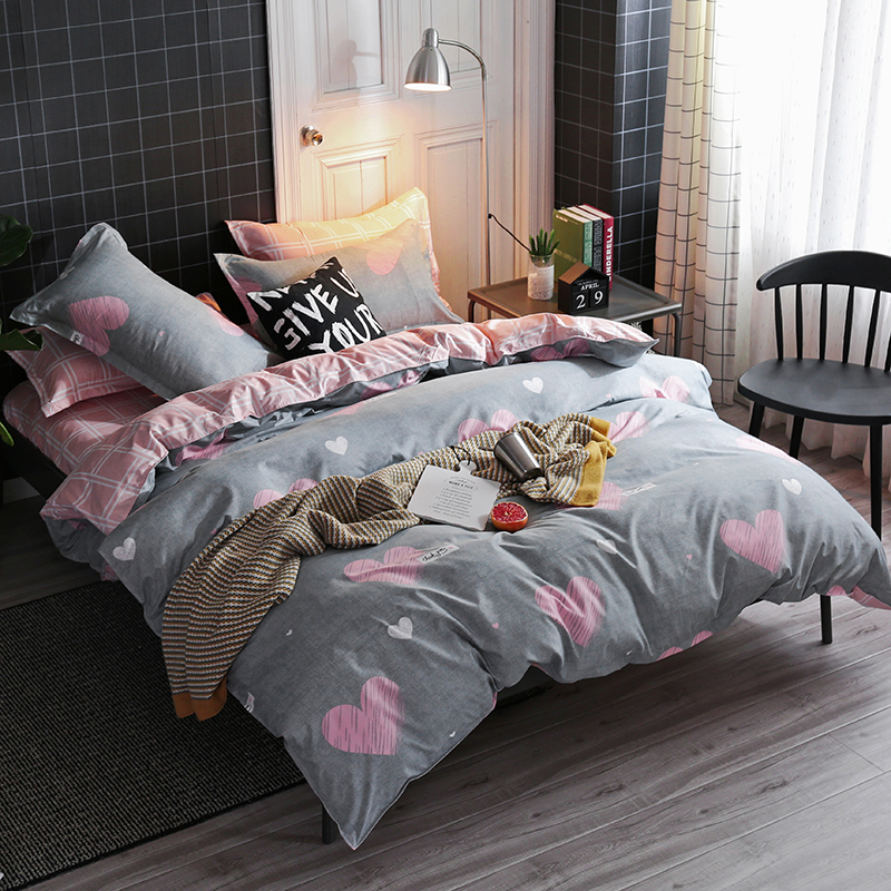 Image 3 - Solstice Cartoon Pink Love symbol Bedding Sets 3/4pcs Children's Boy Girl And Adult Bed Linings Duvet Cover Bed Sheet Pillowcase-in Bedding Sets from Home & Garden