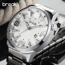 BREAK Men Top Luxury Brand Stainless Steel Band 3D Fashion Casual Analog Quartz Sports Wristwatches Calendar Dress Gift Watches