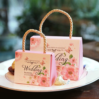 50Pcs Butterfly Flower Candy Kraft Paper Bag With Handle Wedding Favor Portable Box Wedding Party Gift