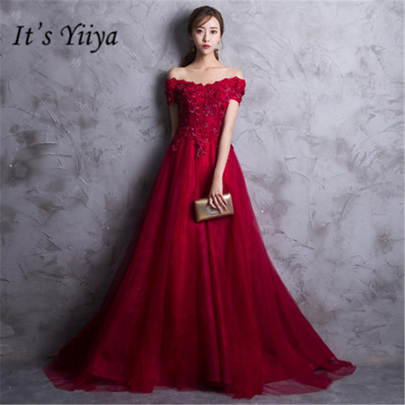 It's YiiYa New Boat Neck Red Prom Dresses Vintage Back Lace Up Floor Length Evening Dress DV053