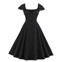 Sisjuly Women S Vintage Dress Summer Black Dot Short Sleeve Square Collar Knee Length Wear To