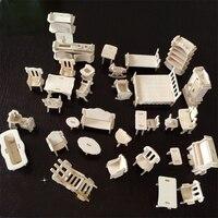 1 Set = 34 Pz Mini DIY 3D In Legno Doll House Dollhouse Mobili Accessori Set Giocattoli di Legno Jigsaw Puzzle Modello Kit di costruzione di trasporto