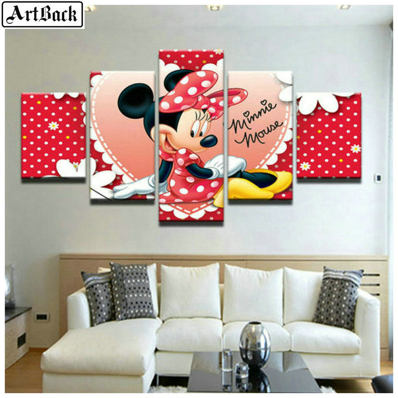 5 sort diamant peinture Disney Mickey Mouse plein carré perceuse couture art diamant mosaïque broderie Mickey Minnie sticker