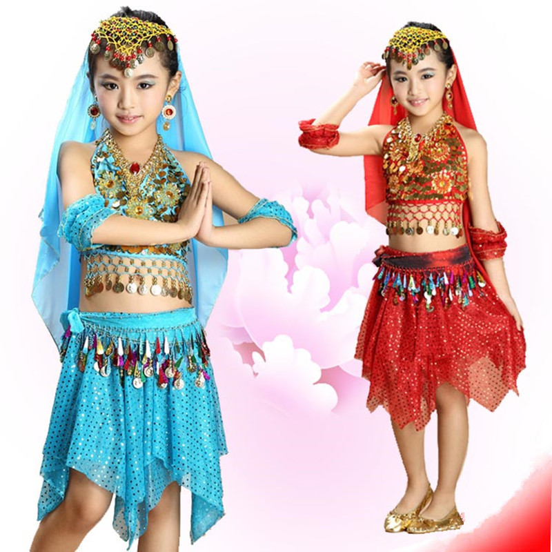 2017 New girls Belly Dance Costume Indian style dance dresses Child Bollywood Dance Costumes for kids 3-4-5pcs sets 6 colors