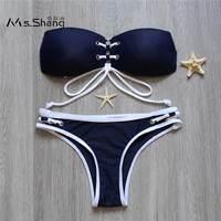 Ms Shang 2017 Halter Top Bikini Push Up Bandage Bandeau Bikinis Women Swimsuit Blue Sexy Brazilian