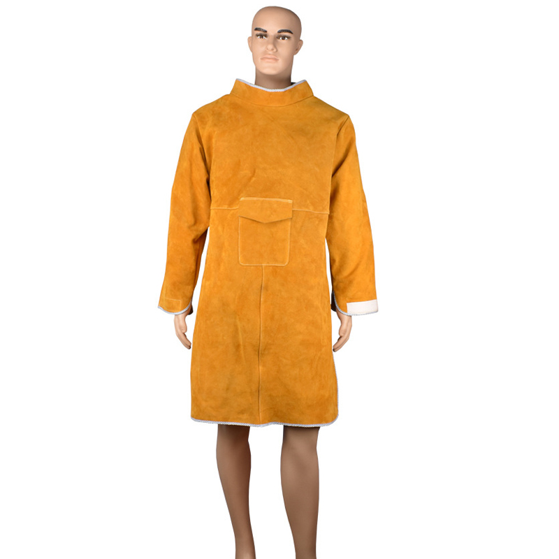 Workplace Safety Supplies Split Cowhide Protective Leather Welding Apron Durable Heat Resistant Safety Clothing for Industry leather welding long coat apron protective clothing apparel suit welder workplace safety clothing page 3