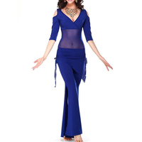 MAKE Hot Belly Dance Costume Sexy Short Sleeves Top Milk Silk Waist Pants 2pcs Suit For