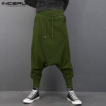 INCERUN Men Pants Elastic Waist Drawstring Low Drop Crotch Hiphop Harem Joggers Sweatpants Pants Men Trousers Fashion Clothing