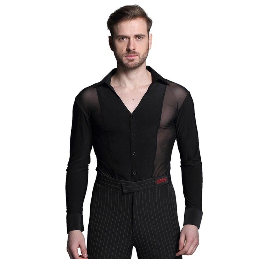 Latin Dance Shirts Men/ Mens T shirt Velvet Diamond Mens Tops Latin Jazz Dance Costumes