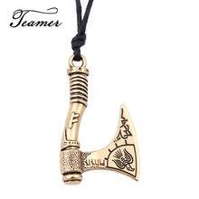 Teamer – pendentif en cuir couleur argent, bibelot, Viking, épée esclave, hache, symbole bouclier amulette, collier, bijoux