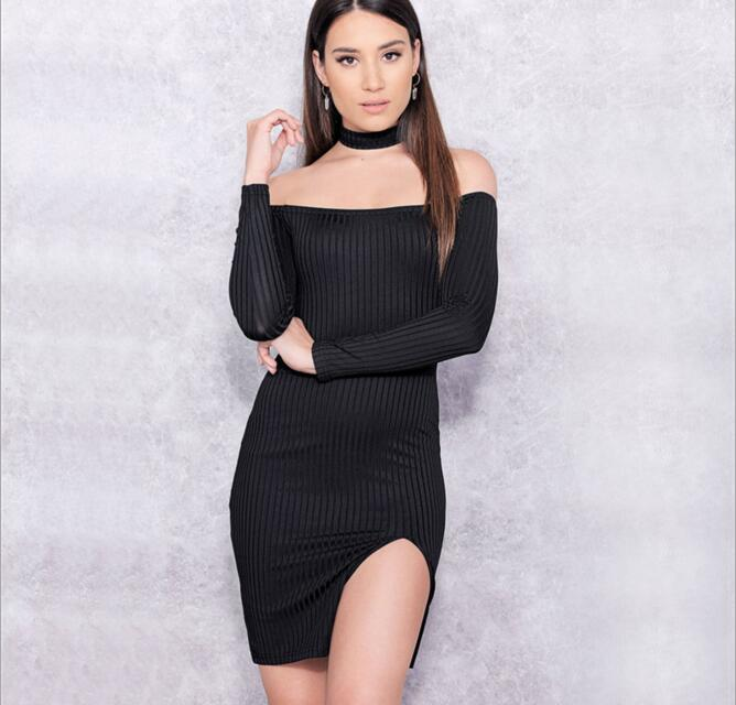 Elegant Slash Neck Off the Shoulder Knitted Dress 2016 New Women Strapless Split Party Dresses Fashion Long Sleeve Mini Dresses