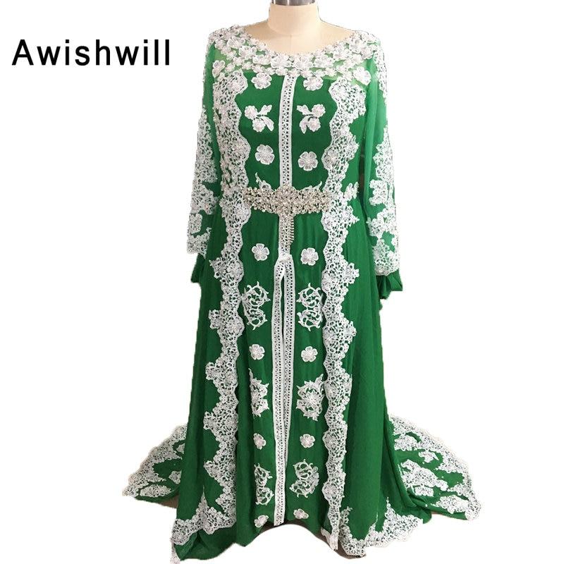 100% real photo Marokkaanse kaftan jurk lange mouwen kralen kant - Jurken voor bijzondere gelegenheden - Foto 3