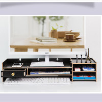 Creative wood computer display Holder Neck protection shelf Keyboard bracket Desktop storage box Office supplies organizer