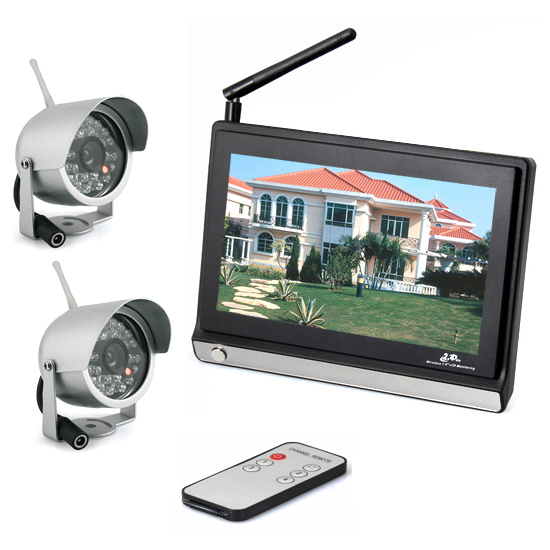 One to Two 7 Inch Wireless Camera IR Night Vision Support 4 Picture Display Wireless Baby Monitor