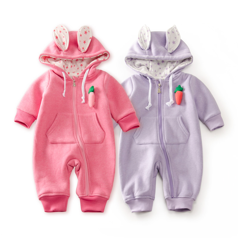 Newborn Baby Warm Rabbit Romper Cute Carrot Tail Decoration Baby Boys Girls Clothes Double Layer Cotton Jumpsuit New Baby Gift puseky 2017 infant romper baby boys girls jumpsuit newborn bebe clothing hooded toddler baby clothes cute panda romper costumes