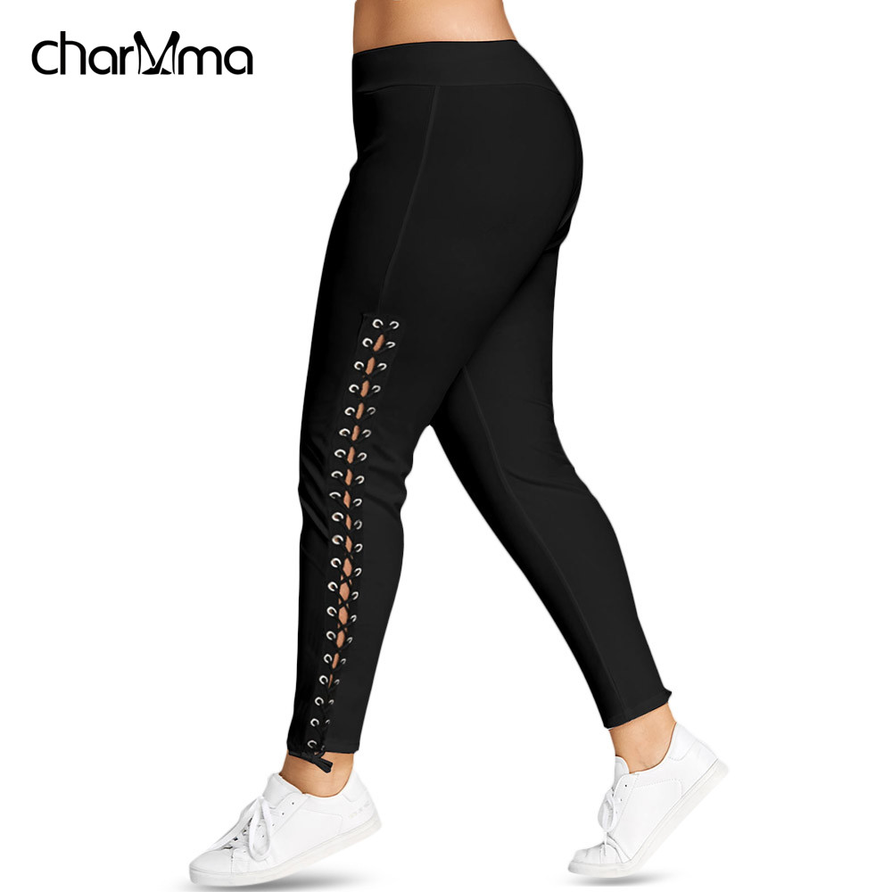 Plus Size Lace Up Grommet   Leggings   2019 Skinny Leggins Women Pencil Pants Trouser Black White   Leggings   streetwear 5XL cargo Pant
