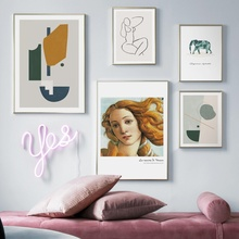 Elephant Line Drawing Abstract Girl Wall Art Canvas Painting Nordic Posters And Prints Wall Pictures For Living Room Home Decor abstract girl line drawing plant leaf wall art canvas painting nordic posters and prints wall pictures for living room decor