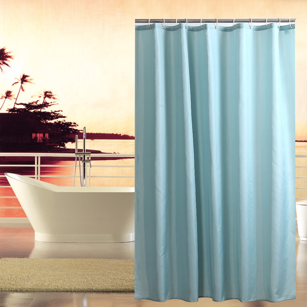 Solid teal shower curtain - Polyester Fabric Shower Curtain Waterproof Home Bathroom Curtains Solid Blue Bath Curtain For The Bathroom 180x180cm