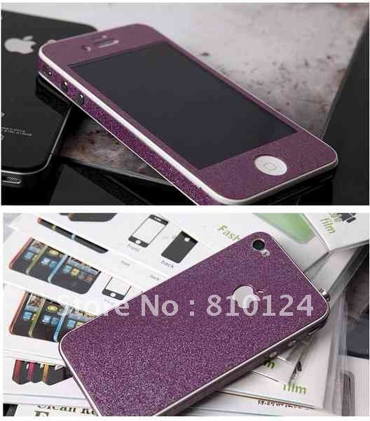 100pcs Bling Bling Full Protection for iPhone 4 4S Skin Sticker DHL Free Shipping+Retail Package