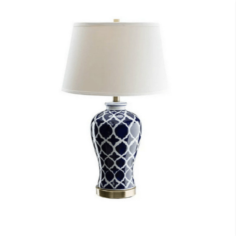 High End Elegant Classical Chinese Blue And White Porcelain Led E27 Table Lamp For Bedside