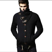 Autumn and winter Men's new plus velvet thickening turtleneck sweater outerwear cardigan turn-down collar sweater coats costumes