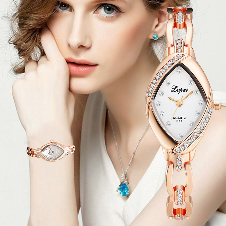 Lvpai Brand Woman Watches  Luxury Quartz-Watch Ladies Watch Women Gold Dropshiping Bracelet Casual Oval Crystal Dress Wristwatch