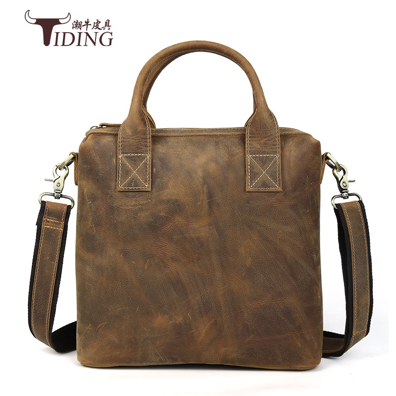 High Quality Genuine Leather Men Business Shoulder Bag Famous Brand CrossBody Messenger Bags crazy horse Handbag Tote Briefcase цена