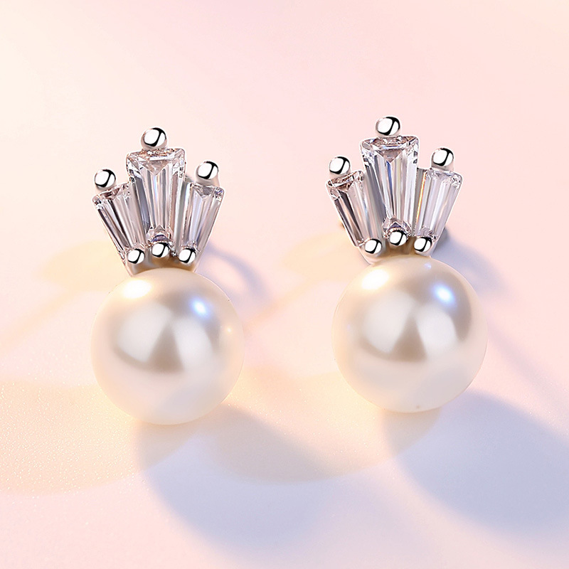 100 925 sterling silver fashion imitation pearl earrings anti allergic crystal crown lady stud earrings girls gift drop ship in Stud Earrings from Jewelry Accessories